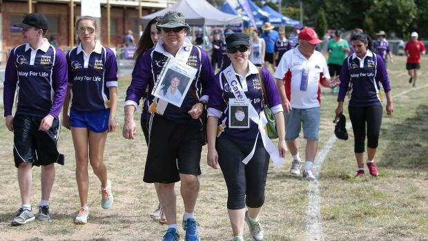 Glen Jones, centre left, of Jerrabomberra, and daughter Hayley Jones, centre right, walk in memory of Noreen Jones.