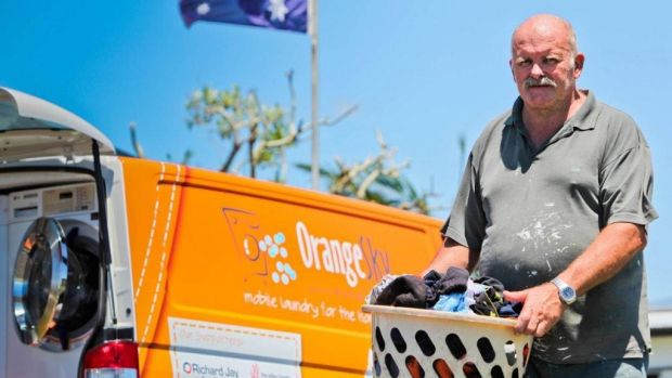 Yeppoon resident Tony makes use of the free laundry service offered by Orange Sky.