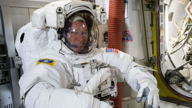 NASA astronaut Terry Virts preparing for Saturday night's space walk.