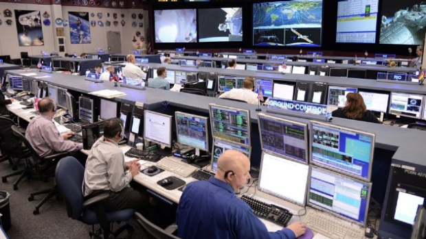 The International Space Centre's Mission Control at NASA's Johnson Space Centre overseeing the spacewalk.