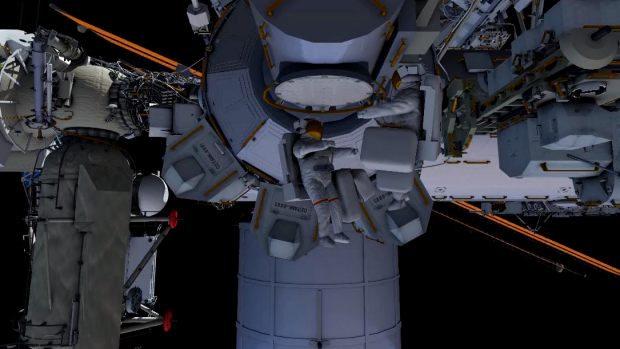 A NASA graphic illustrating how the spacewalk would unfold.