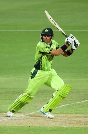 Misbah-ul-Huq in action against India at the Adelaide Oval.