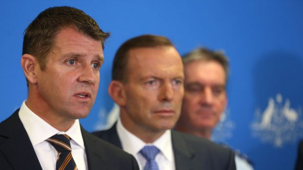 Seeking tighter bail laws: NSW Premier Mike Baird with Prime Minister Tony Abbott and Andrew Scipione.
