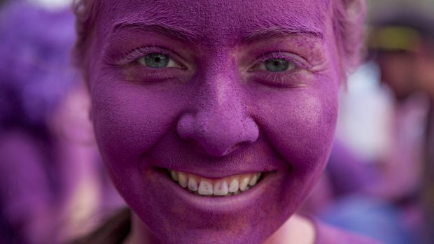 Jess McManus at the Purple station for the Colour Run in Canberra.