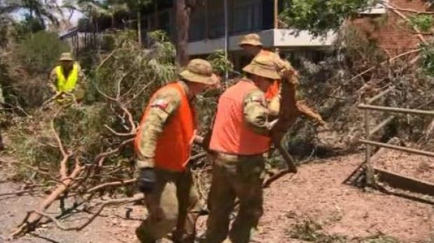 Australian Defence Force personnel help clean-up in Yeppoon after Cyclone Marcia.