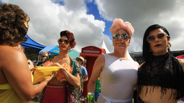 From left: Coco Jumbo, Ivy League, Krystal Kleer and Vybe enjoy the Mardi Gras fair day at Victoria Park.