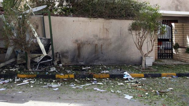 Damage at the entrance to the residence of the Iranian ambassador to Libya after Sunday's bomb attack.