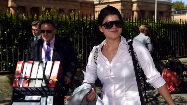 Katherine Abdallah leaves the NSW Supreme Court on Monday. Abdallah was found not guilty of the stabbing murder of her ...