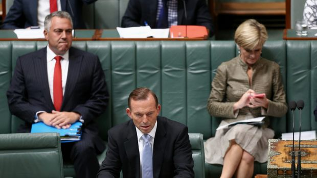 Treasurer Joe Hockey, Prime Minister Tony Abbott and Foreign Affairs Minister Julie Bishop prepare for question time  on ...