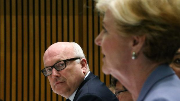 Attorney-General George Brandis and Professor Gillian Triggs during a Senate estimates hearing on Tuesday.