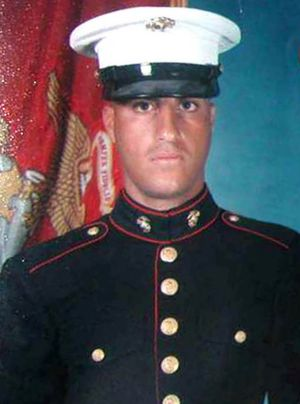 A photo issued by US Marines of  Wassef Ali Hassoun in 2004.
