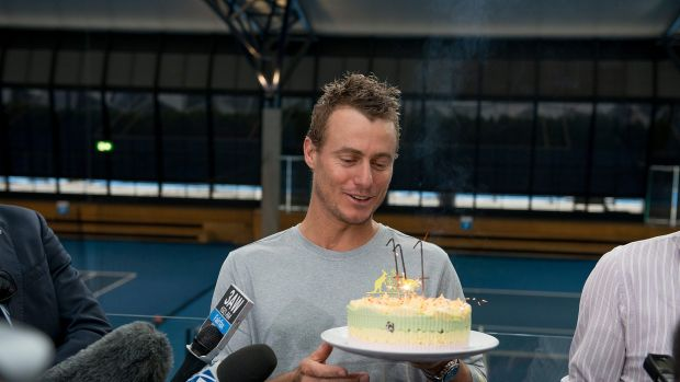 Birthday boy: Lleyton Hewitt at the National Tennis Centre at Melbourne Park on Tuesday.