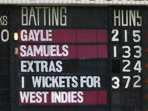 The scoreboard reflects the record-setting partnership of West Indies batsmen Chris Gayle and Marlon Samuels