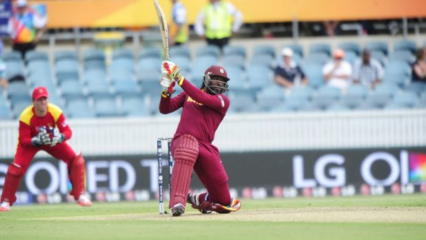 The West Indies' Chris Gayle on his way to setting his record score, but few were in the stands to see him do it.