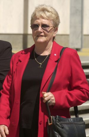 Gwen Winchester leaves a court hearing into David Eastman's conviction in 2004.
