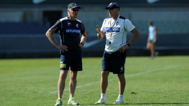 Mick Malthouse (left) will remain in Melbourne. Rob Wiley will coach the Blues in Perth.