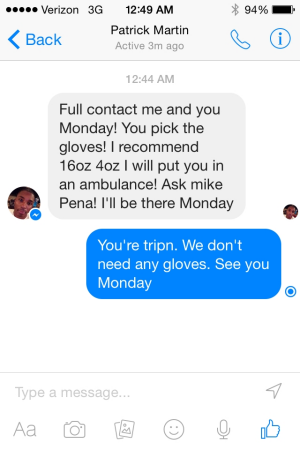 A Facebook conversation screenshot provided by Neers.