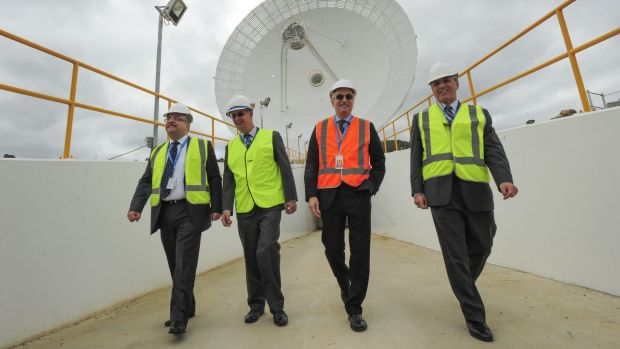 Badri Younes, Dr Ed Kruzins, Dr David Williams and Pete Vrotsos officially open Canberra's new $55 million deep space ...