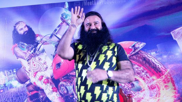 Gurmeet Ram Rahim Singh promotes his movie <i>Messenger of God</i> in the southern Indian state of Kerala earlier this month.