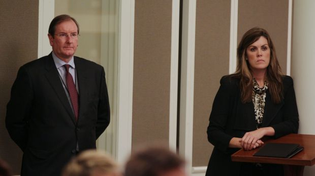 Liberal Party federal director Brian Loughnane and Tony Abbott's chief of staff Peta Credlin.