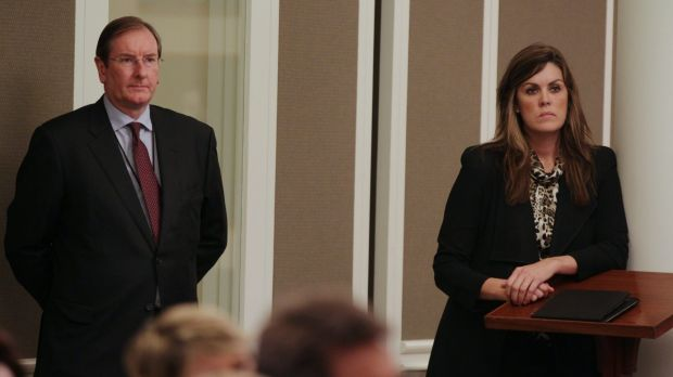 Liberal Party federal director Brian Loughnane and Peta Credlin, chief of staff to Tony Abbott.