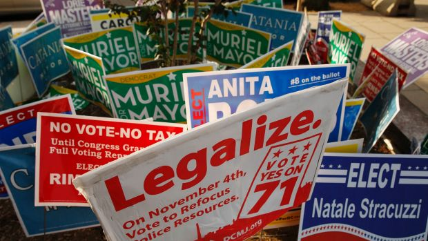 A DC Cannabis Campaign sign with other campaign signs  in Washington DC.
