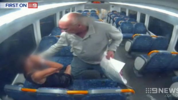The helpless woman under attack; David Marlin has been jailed for at least nine years.