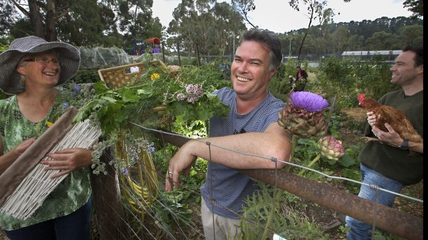 (From left:) Nea Gyorffy, Barry Mann and John Morgan, of the  Mount Macedon Sustainability Group spicking vegetables in ...