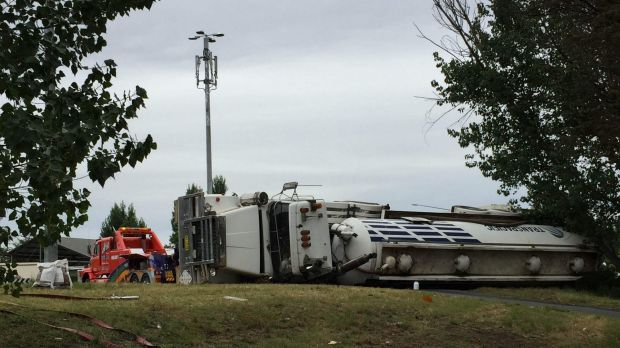 Truck rolled over on Morshead Drive.