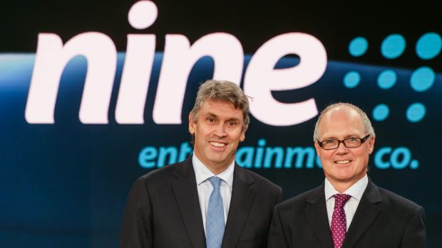 Ardent's new boss, former Nine Entertainment chief operating officer Simon Kelly (right) with then Nine boss David Gyngell.