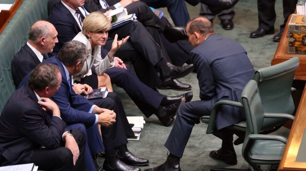 Pressure mounting: Prime Minister Tony Abbott and Foreign Affairs Minister Julie Bishop during a division in question ...