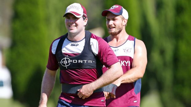 Sea Eagles in the news: Jamie Lyon and Kieran Foran at training. Lyon has sprained his patella.