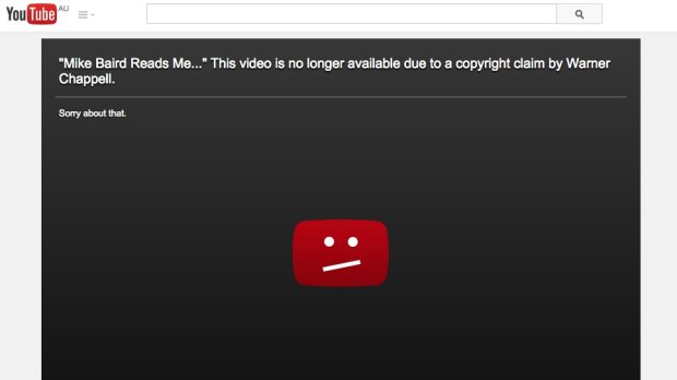 A video posted by Mike Baird has been pulled off YouTube due to a copyright claim.