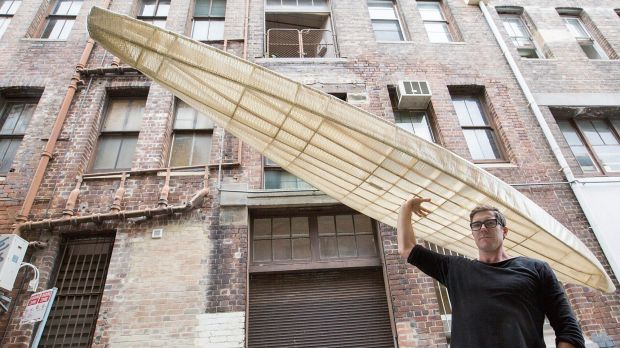 Designer Andrew Simpson of Vert studios with his O SixHundred kayak which weighs less than 10kgs. He designed it based ...