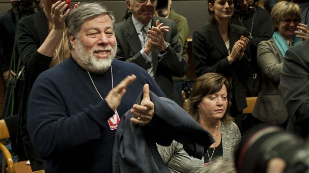 Steve Wozniak, co-founder of Apple, applauds during the meeting to vote on internet regulations at the Federal ...