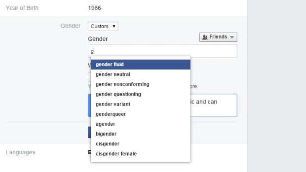 Freedom of choice: Facebook is rolling out custom gender options to all Facebook US English users.