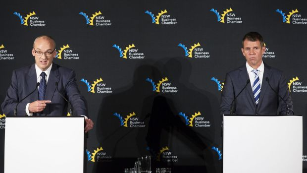 Duelling views: Luke Foley and Mike Baird debate the future.