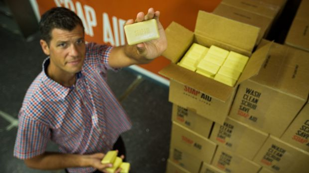 Michael Matulick from Melbourne-based not-for-profit group Soap Aid, with soap made from recycled hotel soap.