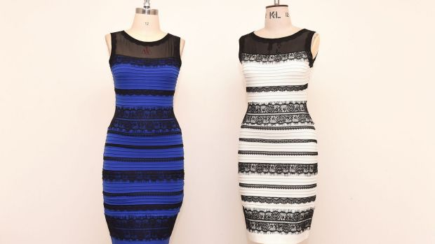 The two-tone dress, left, alongside an ivory and black version, made by Roman Originals.