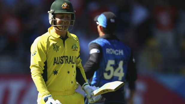 Dismissed: A dejected Michael Clarke walks off after losing his wicket.