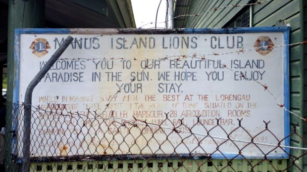 A welcome sign at Manus Island airport.