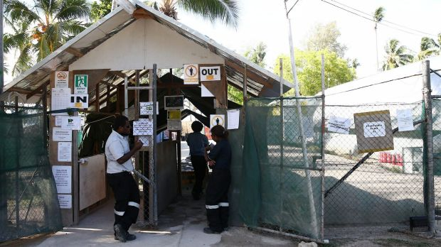 The front entrance of the detention centre on Manus Island.