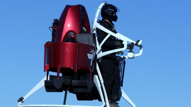 Surfing the skies: Glenn Martin's personalised jetpack makes a demonstration flight in Christchurch.
