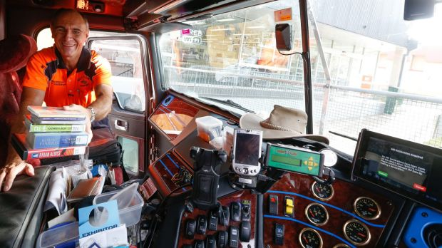 Stocking up: Long-distance truck driver Rod Hannifey is a lover of audio books.