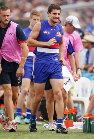 Tom Liberatore hobbles off after injuring his knee on Saturday.