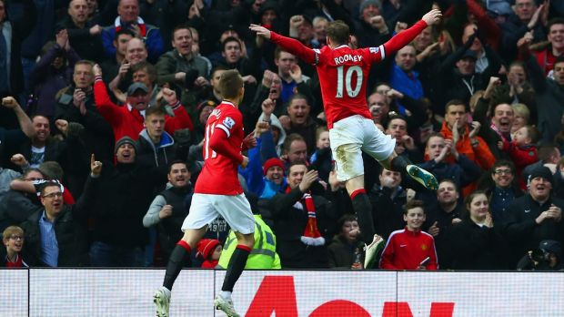 Wayne Rooney celebrates his second goal for Manchester United against Sunderland at Old Trafford on Saturday.