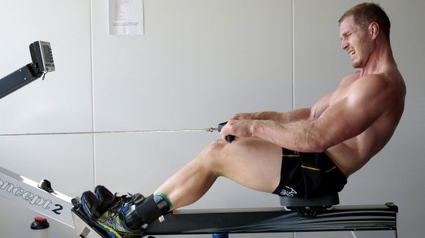 David Pocock works out in a state of the art altitude room in Canberra.