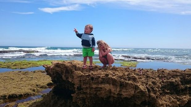 Toddler Eli Marnock, left, pictured with his sister Nicola in a family  photo.