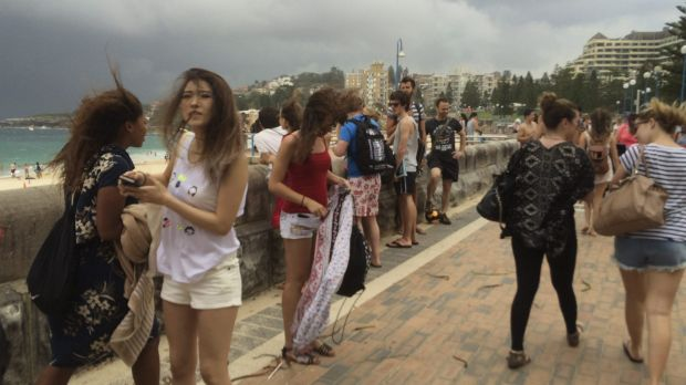 The beach was evacuated when the storm hit shortly before 4pm.