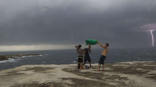 A storm rolls up the coast as viewed from Clovelly on Sunday.